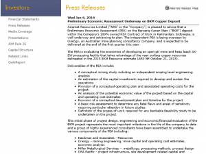Asiamet Resources Column Leaching Programme