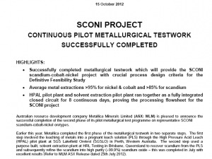 hrltesting – SCONI Project – Continuous Pilot Metallurgical Testwork
