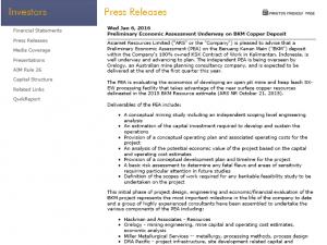 Asiamet Resources Column Leaching Programme